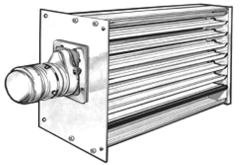 Item   1732  Rectangular Shutter Volume Dampers With Power Power