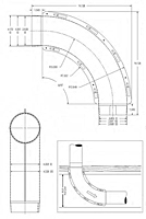 Dimensional Drawing for The Dryer-Ell - 90 Degree Long Turn 28 Gauge Dryer Elbows